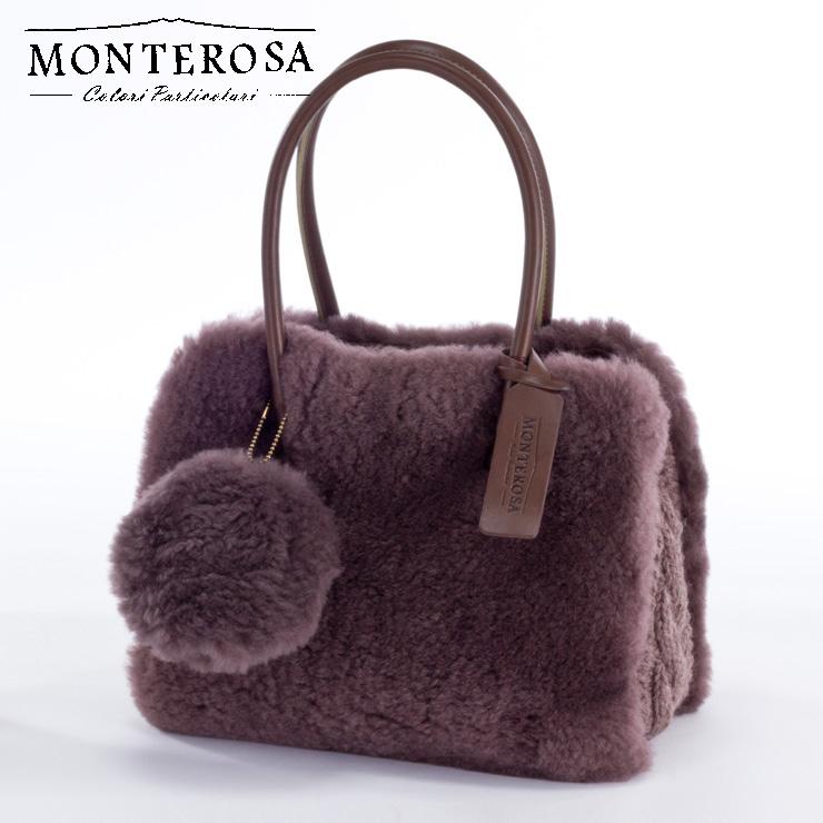 [送料無料]【日本製】モンテローザ muku ムートンバッグ ハンドバッグ No.695 モーブカーキ【MONTEROSA ムク ムートン バッグ】《ギフト対応OK》