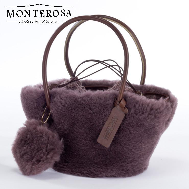[送料無料]【日本製】モンテローザ muku ムートンバッグ ハンドバッグ No.696 モーブカーキ【MONTEROSA ムク ムートン バッグ】《ギフト対応OK》