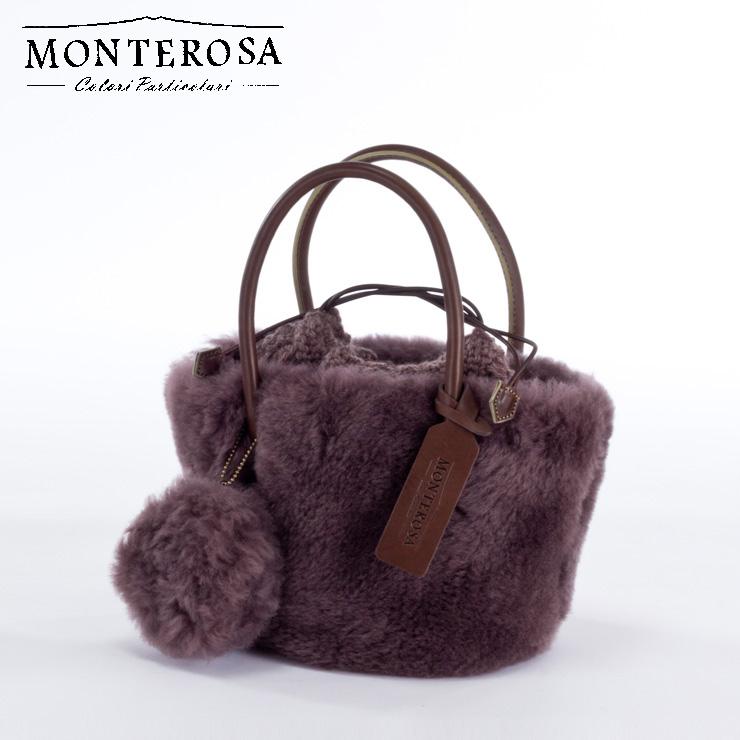 [送料無料]【日本製】モンテローザ muku ムートンバッグ ハンドバッグ No.697 モーブカーキ【MONTEROSA ムク ムートン バッグ】《ギフト対応OK》