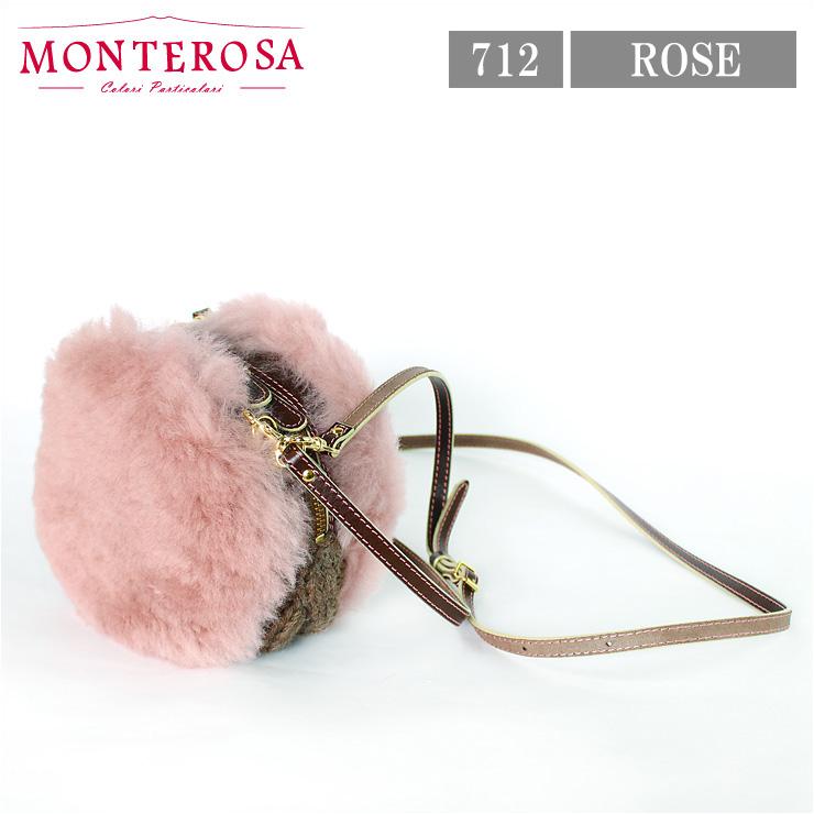 [送料無料]【日本製】モンテローザ muku マカロン ムートンバッグ ショルダーバッグ No.712 ローズ【MONTEROSA ムク MACARON ムートン バッグ】《ギフト対応OK》
