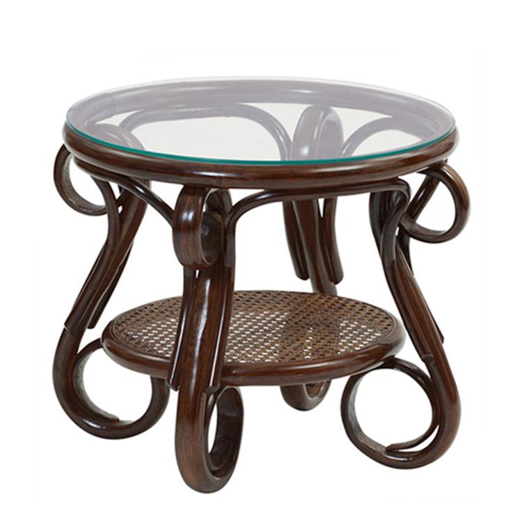 サンフラワーラタン ラタンガラステーブル T210CB W50×D50×H39 ダークブラウン【テーブル 籐 ラタン】[アジアンテイスト アンティーク]【代引き不可】
