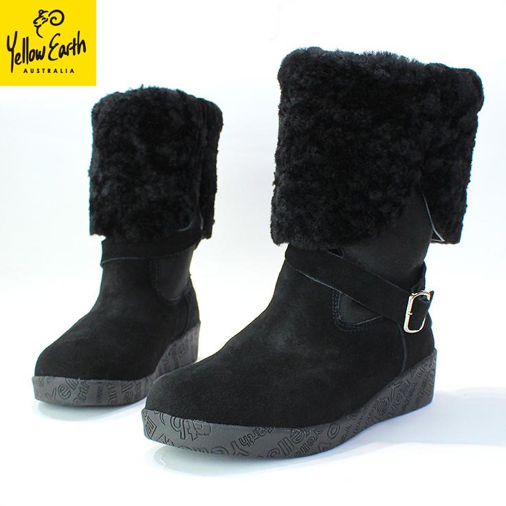 Yellow Earth(イエローアース) ムートンブーツ Alive Boot 送料無料 オーストラリア産シープ 本革 レディース ブラック black [22.5cm~24.5cm]Australian Sheepskin Ugg Boots