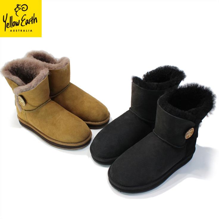 Yellow Earth(イエローアース) ムートンブーツ Button Low Boot 送料無料 オーストラリア産シープ 本革 レディース ブラック BLACK マッシュルーム MUSHROOM [22.5cm~24.5cm]Australian Sheepskin Ugg Boots【HL_NEW_18】
