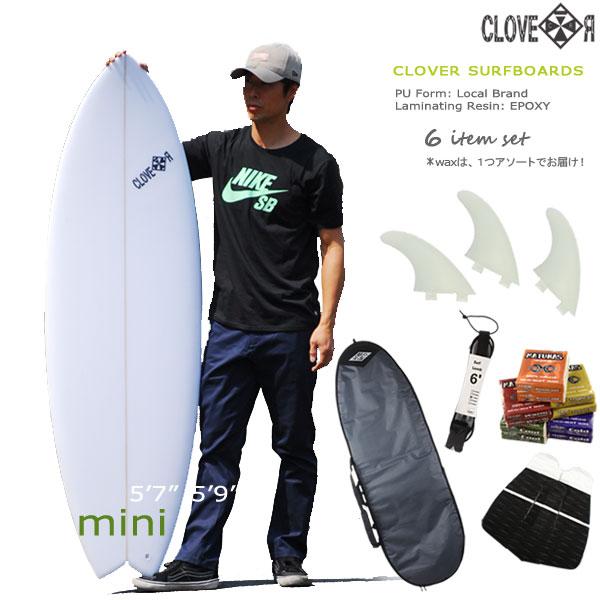 サーフィン セットセカンドボードに!CLOVER(クローバー) SURFBOARDS MINI ショートボード 素材/EPS初心者・中級者向け!お得6点セット【店舗引取で送料無料】