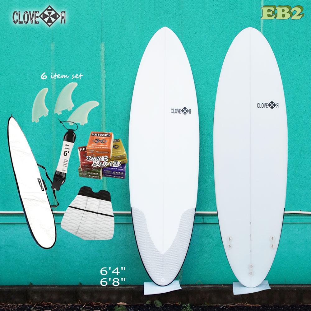 【限定クーポン配布中♪】/サーフィン 初心者セットサーフボード CLOVER クローバー SURFBOARDS EB2 ファンボード 素材/EPS 初~中級者向け お得6点セット店舗引取で送料無料