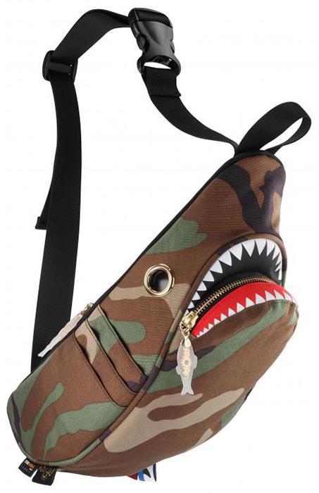 シャークウエストポーチ 【カモフラ】MORN CREATIONSコーデュラ 耐久性  ボディバッグ アウトドア 3L サメ ポケット5ヵ所 撥水加工 簡単出し入れ 動物救護活動 インスタ 送料無料
