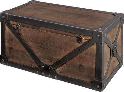 【AntiqueトランクBOX(L)】海賊 宝箱 杉 わくわく RPG おもちゃ箱 子供部屋 センターテーブル アンティーク お宝 収納 インテリア アクセント