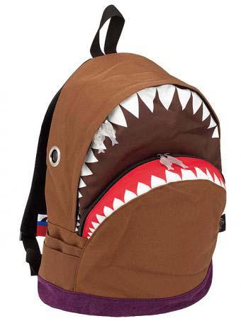 鯊魚背包 (棕色/L)