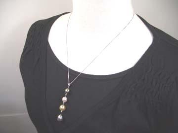 K18WGマルチカラーペンダントネックレス4個付きあこや真珠/黒蝶真珠/白蝶真珠(ゴールド)   ギフト プレゼント