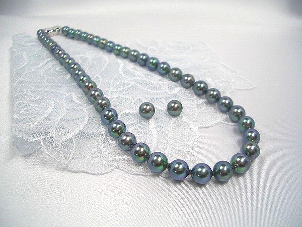 sv黒真珠ネックレスセット (1)イヤリング (2)ピアス ギフト プレゼント
