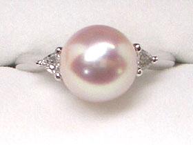 【花珠落ち】貴方だけの1点ものリング(指輪) -選べる枠&真珠-プラチナ枠&あこや8.5mm真珠   ギフト プレゼント
