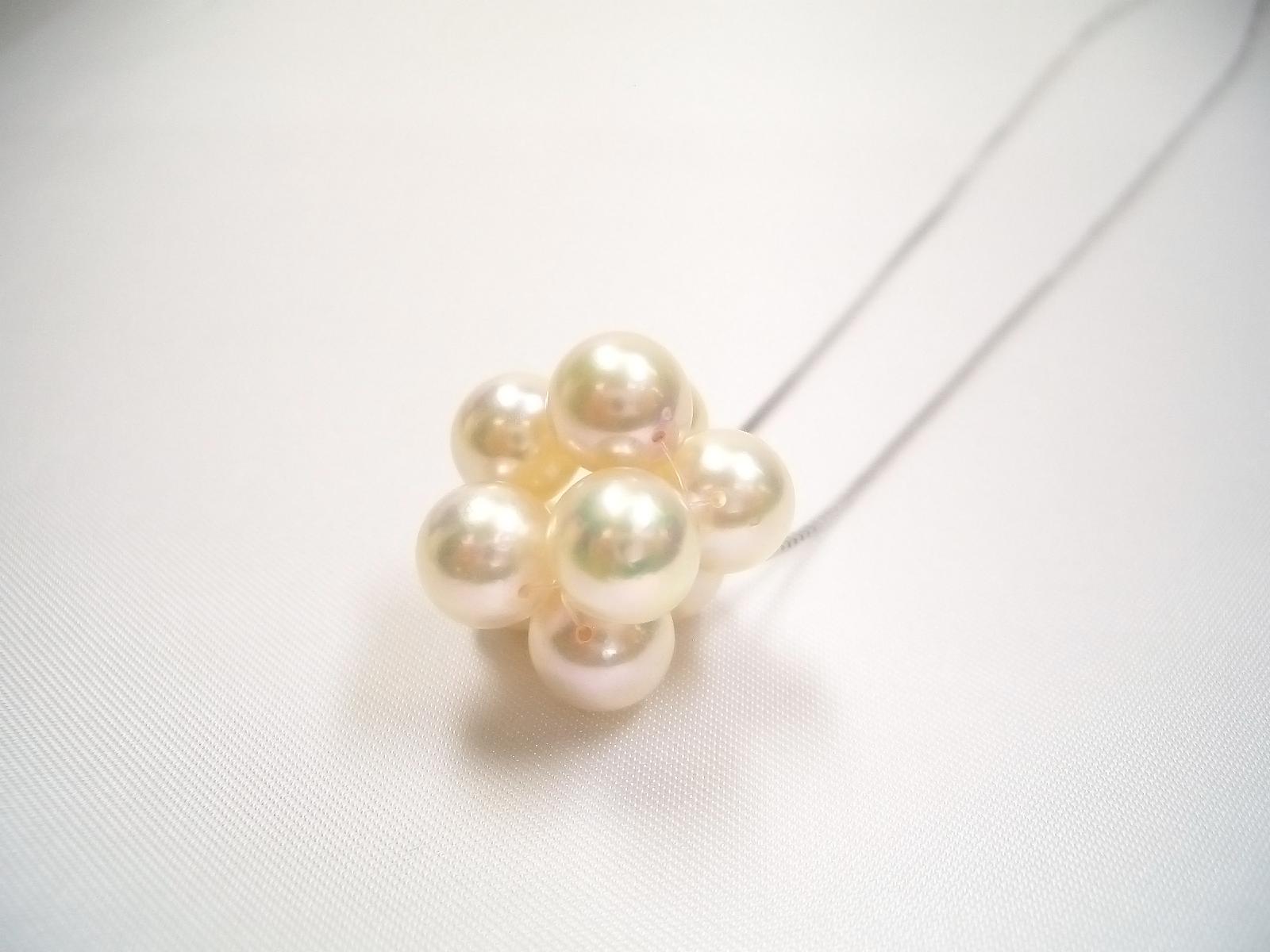 真珠ペンダントネックレス 7.5mm シルバー 41cm ピンクホワイト   ギフト プレゼント