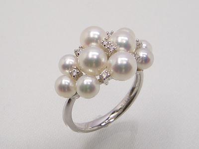 《ダイヤモンド使用》アコヤベビーパール リング   ギフト プレゼント