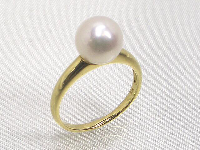 【シンプルデザイン】アコヤ真珠K18ゴールドリング 8.5mm ホワイトピンク   ギフト プレゼント