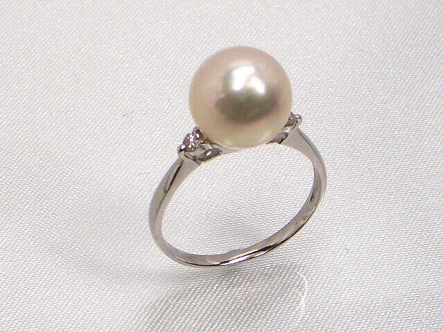 《最高級》花珠真珠リング ダイヤモンド入り(0.08ct)   ギフト プレゼント