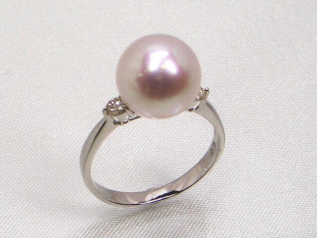 《最高級》花珠真珠リング 10.0mm ダイヤモンド入り(0.15ct)