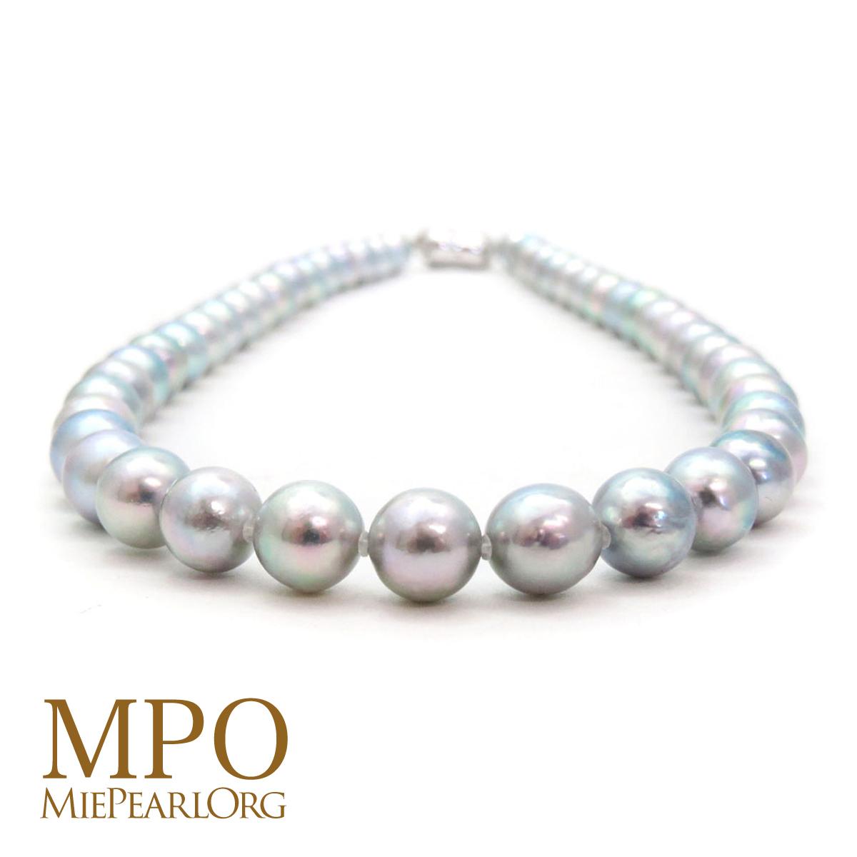 三重県真珠加工販売協同組合 アコヤ真珠 グレー処理 ネックレス 約8.0-8.5mm ニアラウンド 真珠 ギフト 大幅値下げランキング y-n-626 パール SV ご予約品
