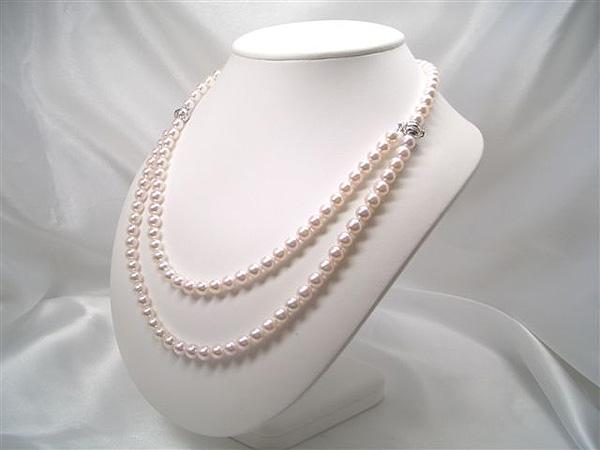 センスを感じるお洒落な留具!SV上質アコヤ真珠ロングネックレスセット(パックマン式)   ギフト プレゼント
