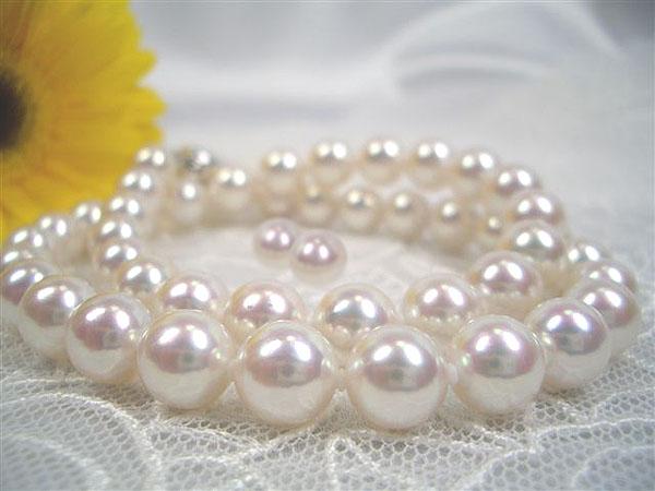 大粒アコヤ真珠ネックレスセット 大粒・テリ巻き良しでこの価格!?   ギフト プレゼント