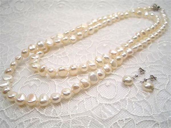 淡水真珠 セミロングネックレスセット【カジュアルNo.1】大人気カジュアルネックレスが、豪華ロングに!!コロンと可愛い   ギフト プレゼント