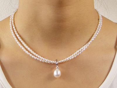 【品質に自信あり】淡水真珠ペンダント付きネックレス(ホワイト)   ギフト プレゼント