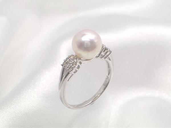 花珠級の輝き!Pt花珠落ちアコヤ真珠ダイヤ入りリング(指輪)、ダイヤ0.15ct   ギフト プレゼント