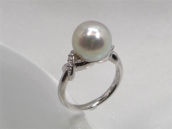 Pt真多麻落ちアコヤ真珠ダイヤ入りリング ダイヤ0.08ct パール 約10.0mm   ギフト プレゼント