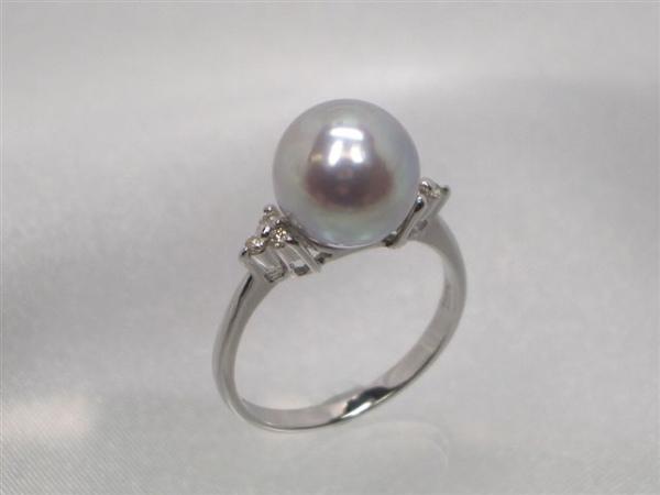 Pt真多麻落ちアコヤ真珠ダイヤ入りリング ダイヤ0.08ct パール 約9.0mm   ギフト プレゼント