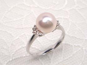 【花珠落ち】貴方だけの1点ものリング(指輪) -選べる枠&真珠-プラチナ枠&あこや8mm真珠