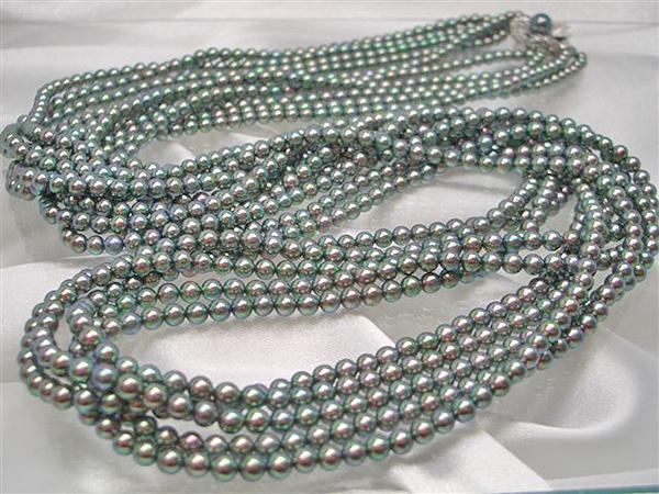 アコヤ真珠(ベビーパール 処理)ロング5連ネックレス