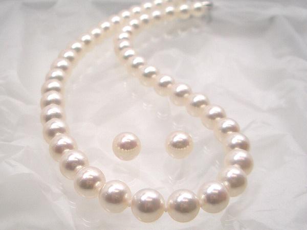 最高級【花珠真珠】パール!アコヤ真珠ネックレスセット約8.5~9.0mm (1)イヤリング(2)ピアス(花珠鑑別書付) 入学式卒業式のフォーマルにも最適!   ギフト プレゼント