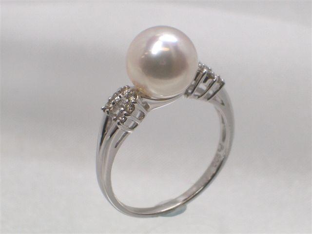 Pt高級花珠真珠アコヤ真珠ダイヤ入りリング(指輪) ダイヤ0.15ct   ギフト プレゼント