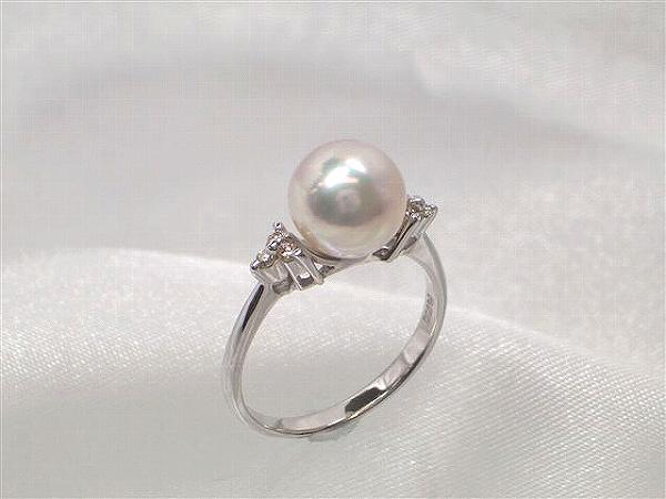 Pt最高級花珠真珠アコヤ真珠ダイヤ入りリング(指輪) ダイヤ0.08ct   ギフト プレゼント