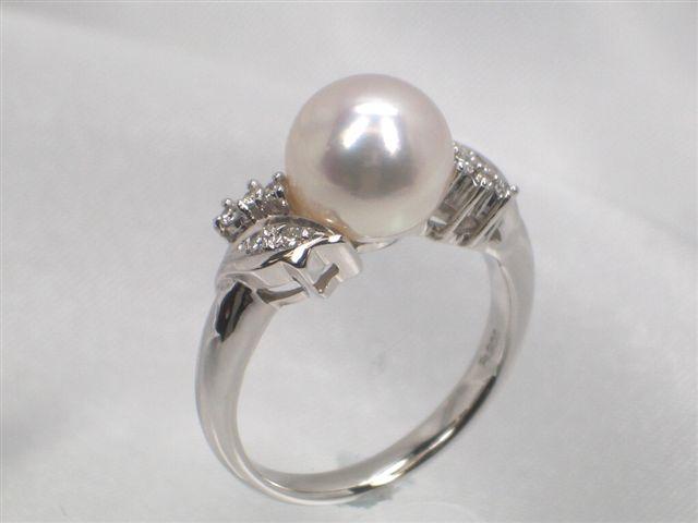 Pt高級花珠真珠アコヤ真珠ダイヤ入りリング(指輪) ダイヤ0.09ct   ギフト プレゼント