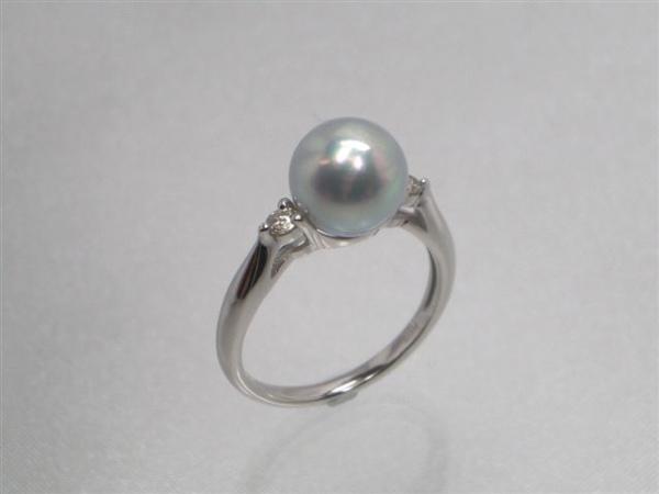 Pt最高級真多麻アコヤ真珠ダイヤ入りリング ダイヤ0.10ct パール 約8.5mm   ギフト プレゼント