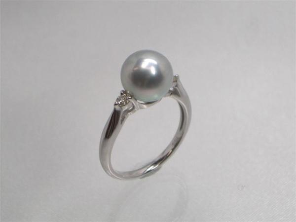 Pt高級真多麻アコヤ真珠ダイヤ入りリング ダイヤ0.10ct パール 約8.5mm   ギフト プレゼント