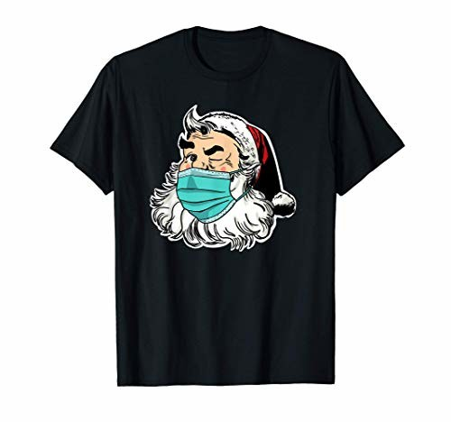 Santa with facemask funny Christmas 2020 santa ディスカウント Tシャツ 正規品送料無料