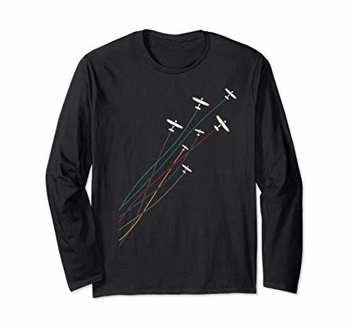 賜物 パイロットヴィンテージフライング飛行機飛行機パイロット誕生日プレゼント 贈与 長袖Tシャツ