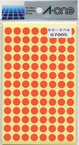 エーワン カラーラベル 橙 高級な 丸型 9mm 14シート 在庫限り 07005