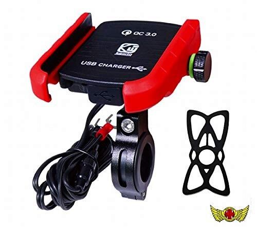 購買 バイク用 USB付き 割引 スマートフォンホルダー 360度回転 5V レッドmm50-0418-rd QC3.0 3A 防水仕様 落下防止バンド付き