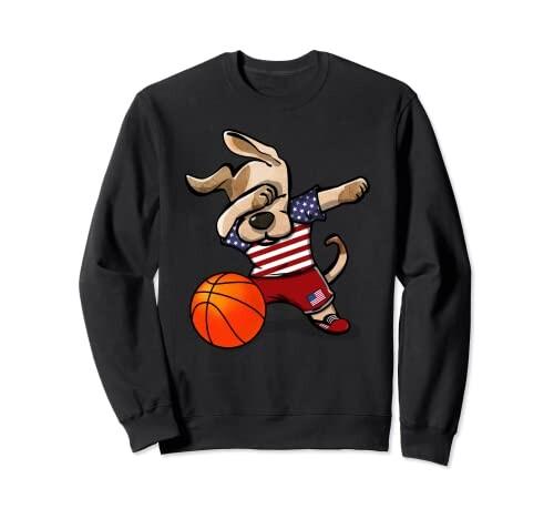 Funny Dabbing Dog Basketball かわいい犬米国バスケットボールアメリカの国旗スポーツ トレーナー
