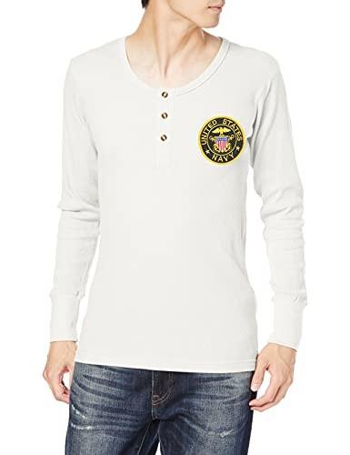 エフスタイル ヘンリーネックシャツ アメリカ海軍 買取 USN ホワイト ギフト M 紋章ワッペン刺繍付