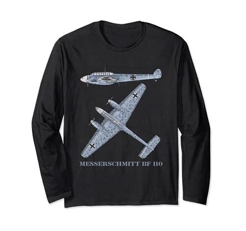 メッサーシュミット Bf 110 ドイツ WW2 長袖Tシャツ 即納 図鑑 格安SALEスタート 爆撃機 戦闘機