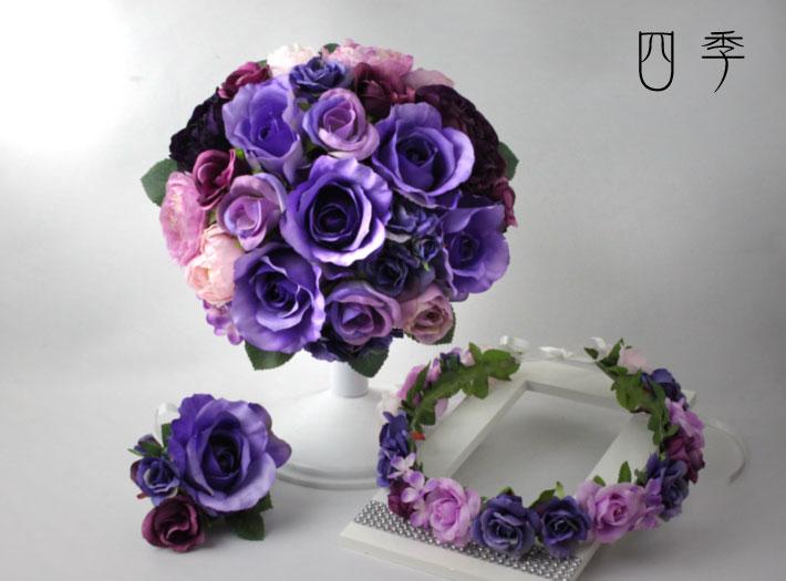 ブーケ 造花 ウェディングブーケ 紫 パープル 9857 ラウンド 花冠 前撮り【送料無料】B_0131