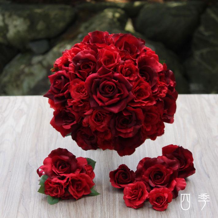 ウェディングブーケ 薔薇&ローズ 赤 レッド ラウンド ブライダル 結婚式 海外挙式 前撮り【送料無料】B_0180