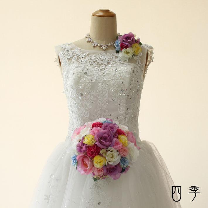 ウェディングブーケ ミックスカラー ラウンドブーケ ヘッドドレス 造花 結婚式 海外挙式 前撮り【送料無料】B_0181