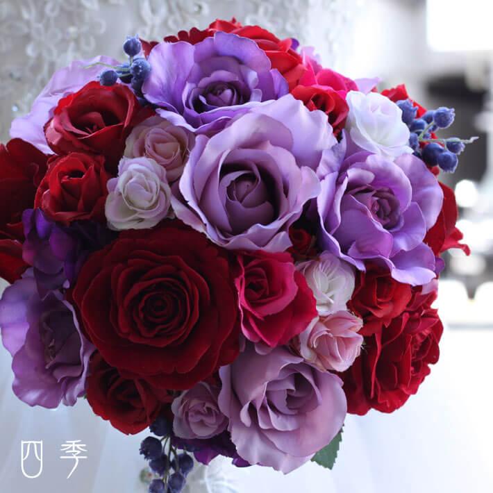 ブーケ 造花 ケリー ラウンドブーケ ローズ 巻きバラ ウェディング 結婚式 海外挙式 前撮り【送料無料】B_0211