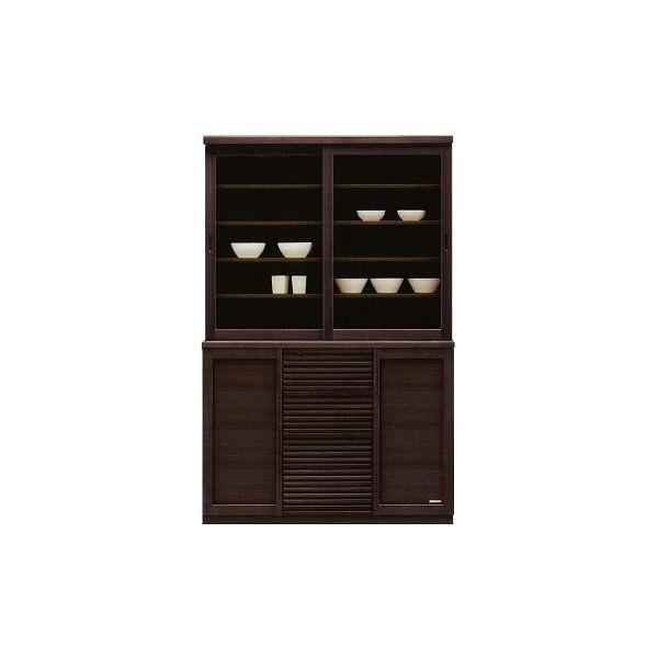食器棚 120 キッチンボード ダイニングボード キッチン収納 キャビネット カップボード 木製 国産 完成品 ダークブラウン