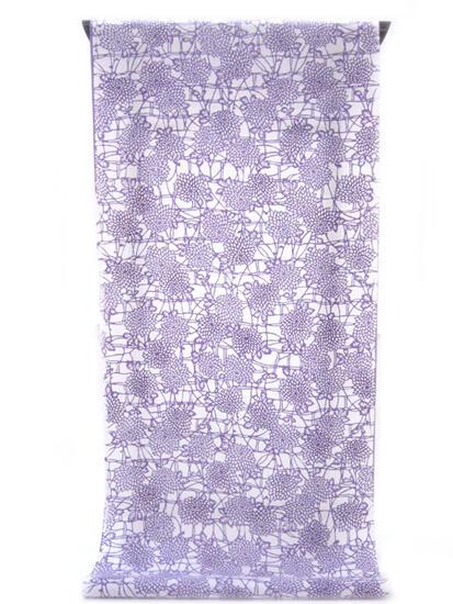 :::: 伝 統 の 注 染 ゆ か た ::::清涼感あふれる純白の木綿に   紫苑ぼかしの小菊尽くし柄(反物)◇ お仕立て(国内手縫い)¥11,000(税別)で承ります。