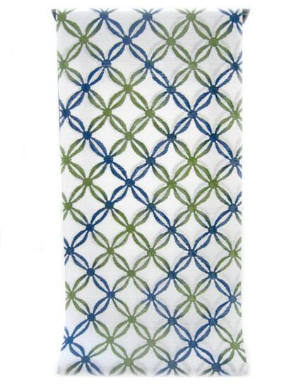 :::: 伝 統 の 注 染 ゆ か た ::::とっておきの涼感にうっとり 純白の木綿絽   瑠璃紺から鶯色へ二色ぼかし七宝柄(反物)◇ お仕立て(国内手縫い)¥11,000(税別)で承ります。